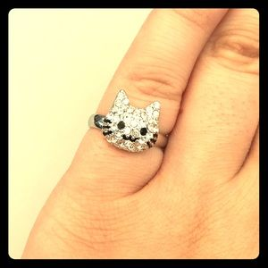 Kitty Ring w/ All-Over White Stones